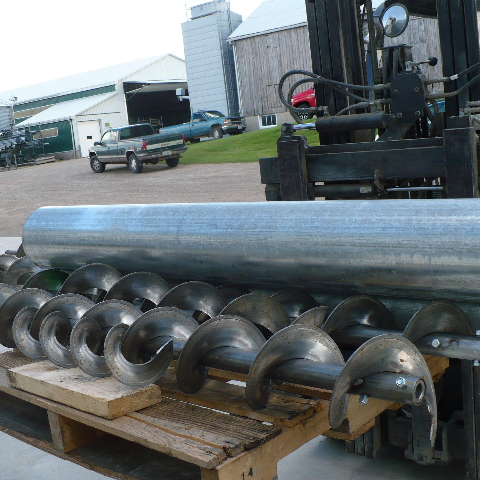 Dryer Augers with tube on a skid